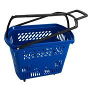 5 Cesta Cestinha Supermercado Com Rodas Rodinha Azul