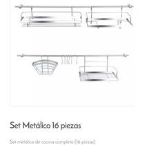 Set Organizador Barral Accesorios Cocina Pared Metálico 16p