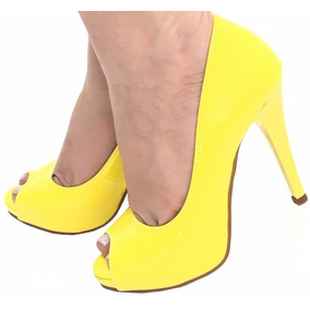 Sapato Peep Toe Meia Pata Amarelo Salto Fino Alto Festa 650