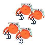 Pack X 4 Cinta De Amarre 2,5cm X 5 Mts Con Criquet Y Ganchos
