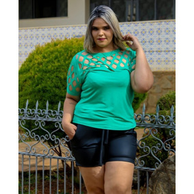 Blusa Feminina Plus Size Com Recorte A Laiser Moda Instagram