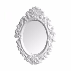 Espelho De Parede Branco Grande Plastico Oval Princess