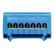 Distribuidor Unipolar Bornera Azul Bt107 Din 7 Conctact
