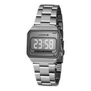 Relógio Lince Feminino Prata Quadrado Led Espelhado Mdm4644l