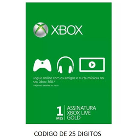 Xbox Live Gold 1 Mês ( Cartão De 25 Digitos)