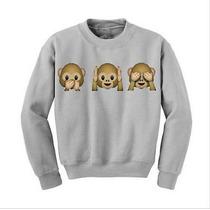Mono 3d Emoji Mujeres Moda Puente Manga Larga Top Camiseta