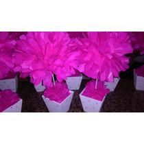 6 Flores Papel De Seda! Maceta Pintada Tu Eventos Listos!