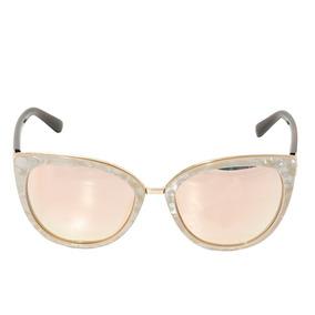 Óculos De Sol Feminino Perolado Estilo Gatinho Dourado