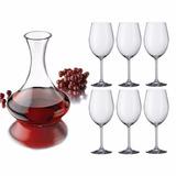 Set 6 Copas Vino 590ml Cristal Bohemia +decantador Libbey 2l