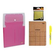 Kit Office Pasta Sanfonada Rs + Marca Texto + Bloco Adesivo