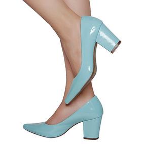 Sapato Scarpin Salto Grosso Michelle Ii Verniz Azul Bebê