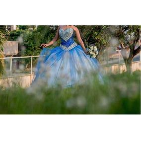 Vestido De Xv Años Azul Rey, Con Piedras