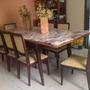 Mesa Anitga Marmore Rosa E Madeira Nobre,com 8 Cadeiras