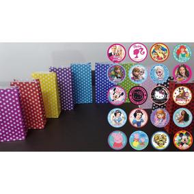 45 Bolsitas Bolsas Papel + Stickers 5cm Diam Nenas Cumples