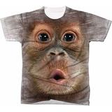 Camisa Camiseta 3d Animal Macaco Monkey Orangotango Filhote