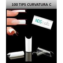 100 Uñas Convers Transparentes O Tips Curvatura C Jh Nails