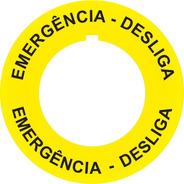 Placa Plaqueta Adesiva Para Botões Emergência Nr12 Nr10 10un