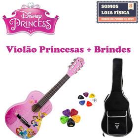 Violao Infantil Phx Disney Princesas Vip-3 + Kit Acessórios