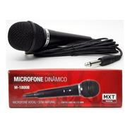 Microfone Dinâmico Vocal Karaoke Mxt M1800b Cabo 3 Metros
