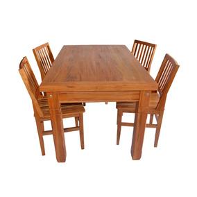 Mesa De Madeira De Demolição 1,5 M Com 4 Cadeiras Cambury