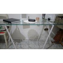 Mesa De Vidro Com Cavaletes Oppa Modelo Alpha.