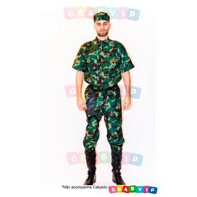 Fantasia Exército Brasileiro Soldado Roupa Camuflada Adulto