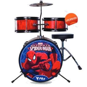 Bateria Infantil Bim-s2 Spider Vermelha 3pçs 14 Phx Marvel