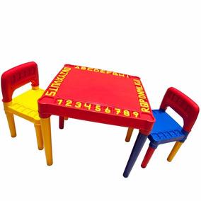 Mesa Infantil Escolar Com Duas Cadeiras