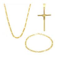 Corrente Masculina Com Crucifixo E Pulseira +n Fiscal Cpr001