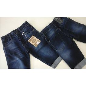 6 Bermudas Jeans Infantil Masculina - Barra Dobrada.
