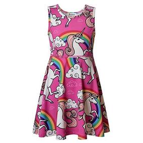 Vestido Color Rosa De Unicornio Para Niña Talla 8/9 Jxstar