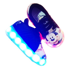 Tenis Led Niño Mickey Mouse Recargable Nacional 13 Al 21.5