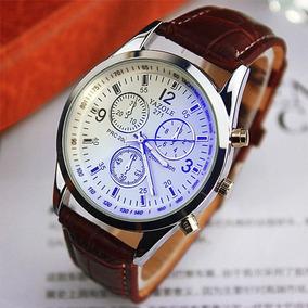 Relógio Masculino Luxo Pulseira Couro Marrom Frete Gratis