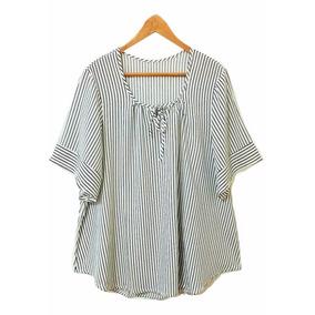 Camisa Blusa Rayas Larga Talles Grandes Verano 2018