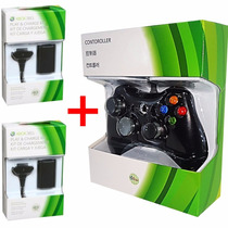 Kit 1 Controle Xbox 360 Sem Fio + 2 Bateria Recarregavel