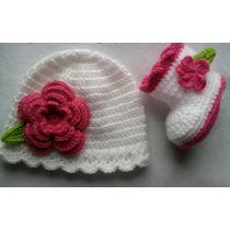 Conjunto Botita Y Gorro Tejida A Crochet