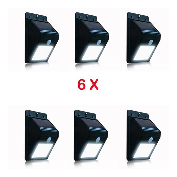 Caja X 6 Luces Solares 8 Led C/ Sensor Movimiento P/exterior
