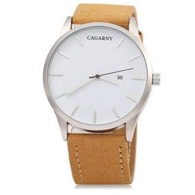 Relógio Masculino Pulseira Couro Estiloso Cagarny