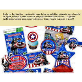 Kit Imprimible Candy Bar Dulces Postres Capitan America Bolo