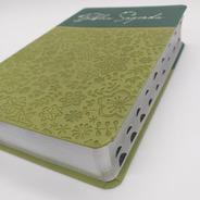 Bíblia Sagrada Letra Gigante Almeida Verde Oliva Índice Luxo