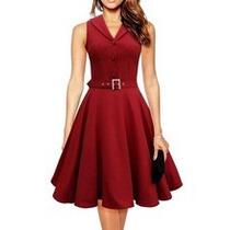 Vestido Lindo Estilo Anos 60 Vermelh Com Cinto Frete Gratis.