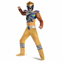 Disfraz Niño Power Ranger Dorado Dino Charge Con Musculos