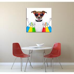 Cuadro Perro Shopping Fashion Dog Compras Funny Pet 45x45cm