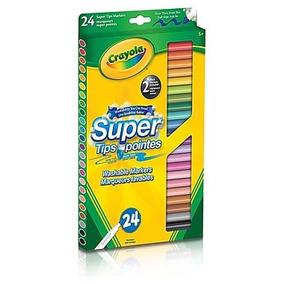 24 Canetinhas Hidrocor Supertips Crayola - Novo