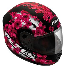 Capacete Peels Spike Blossom Feminino Moto Fosco Lilás Preto