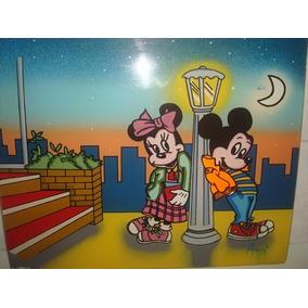 Pintura Da Minnie E Mickey Em Placa De Acrílico - Década 70.