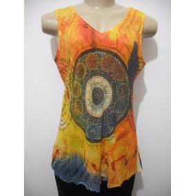 Blusa Estampa Signos Hippie Colorida Tam M Usado Bom Estado