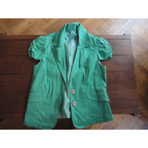 Saco Mangas Muy Cortas Verde Talle 1 Forrado