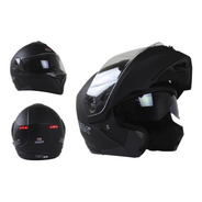 Casco Roda Luminar Abatible Luz Led Certificado Dot Negro