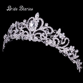 Coroa Noiva Tiara Cristal Strass Casamento Miss Debutante